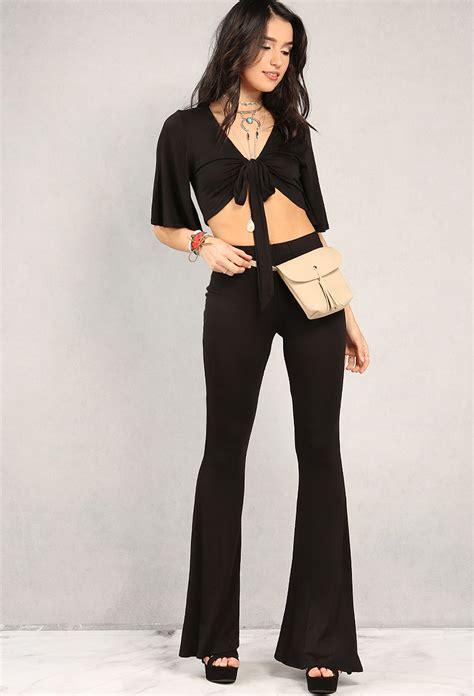 Self Denim Set Top Shorts Size S self tie crop top and flared set shop dresses at
