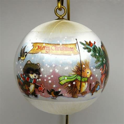 vintage christmas ornament current inc sleeved satin ball