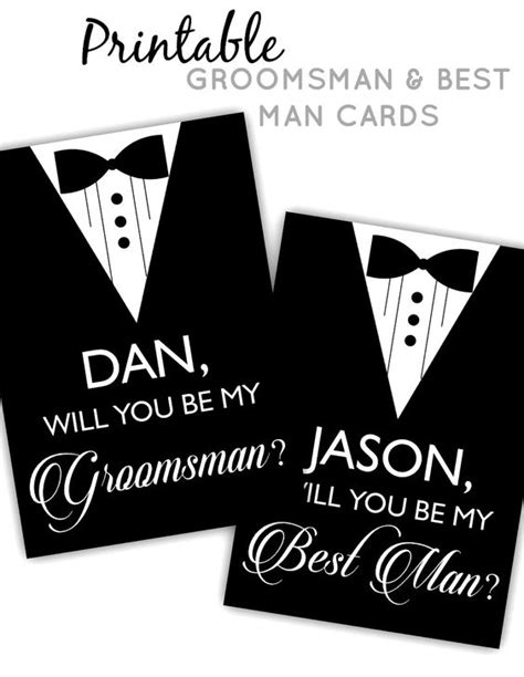 Groomsmen Printable Cards And Cards On Pinterest Will You Be My Best Template