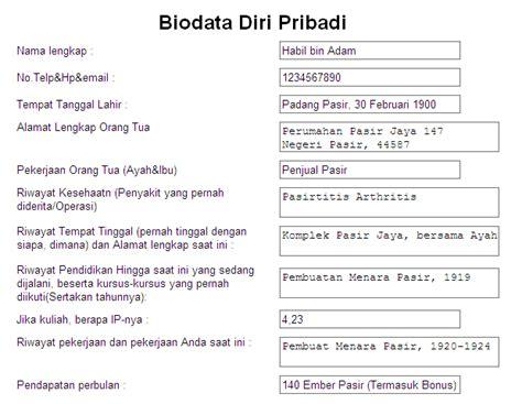format biodata siswa lengkap contoh biodata yang sangat lengkap contoh u