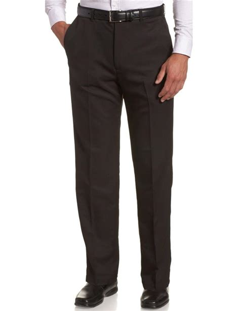 comfort waist dress pants new men haggar cool 18 plain front no iron classic fit