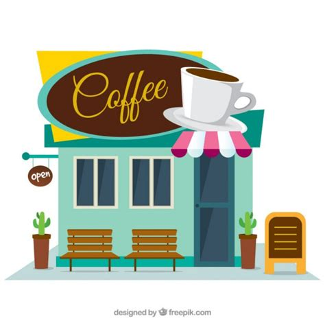 coffee shop flat design coffee shop facade in flat design vector free download