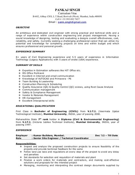civil project manager resume format pankaj resume construction project manager
