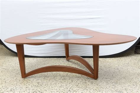 mcm freeform coffee table with glass insert 1960s usa at