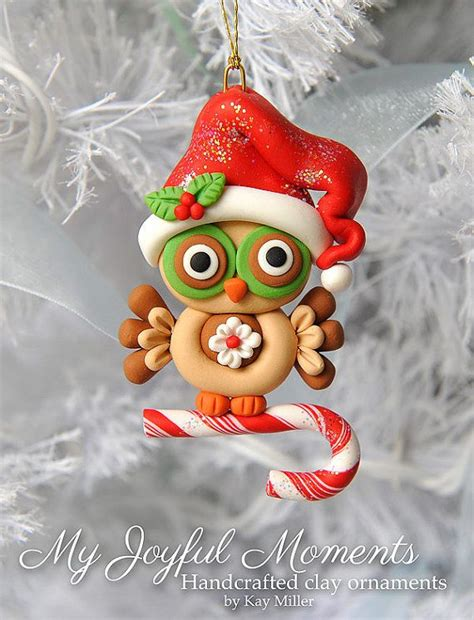 Handcrafted Ornaments - handcrafted polymer clay owl ornament