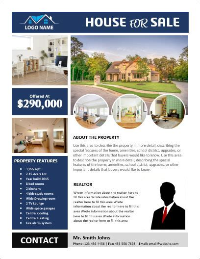 sle brochure templates microsoft word ms word house for sale flyer with pictures office