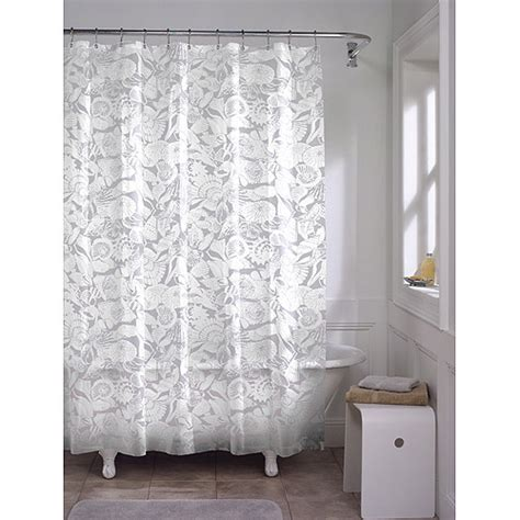 wal mart shower curtains maytex white seashell peva shower curtain walmart com