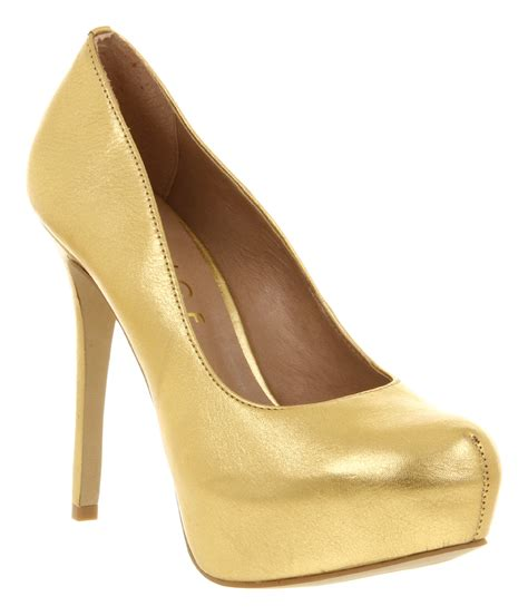 gold shoes womens office after all gold tumbled leaher high heel