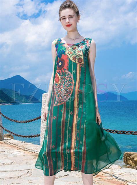 Green Ethnic Dress dresses shift dresses green ethnic sleeveless big hem