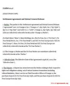 settlement agreement and mutual general release sample