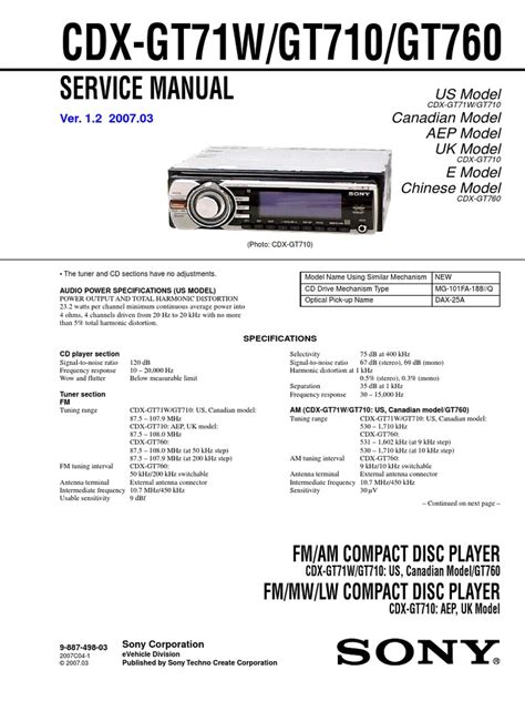 sony cdx gt200 installation manual wiring diagrams