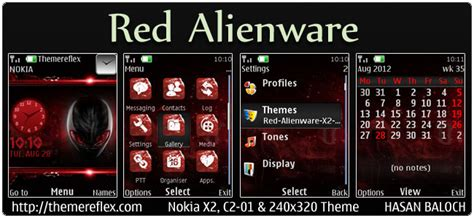 nokia c2 red themes red alien ware theme for nokia x2 c2 01 240 215 320