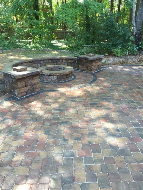 pavestone paver patio pit and seat walls with