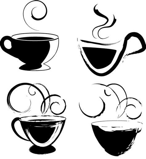 無料ベクターシルエット素材 ラフなタッチのコーヒーカップ4個 all free clipart