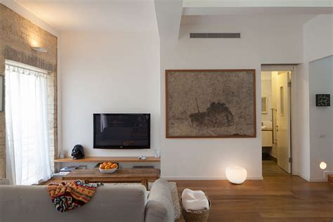 Apartment Sized Entertainment Unit Small Apartment In Tel Aviv Gets A Trendy Modern Makeover