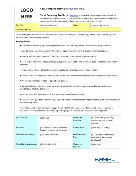 it description template it project manager description template by bayt