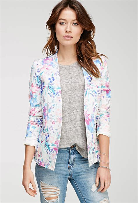 Blazer Forever 21 Watercolor Floral Print Blazer From Forever 21 Clothing