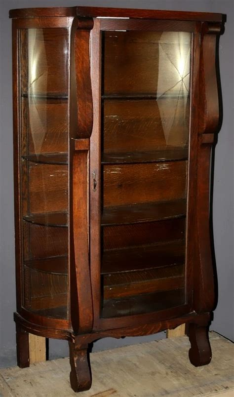 curved front corner curio cabinet antique oak bowfront curio with curved glass by ebert ebay