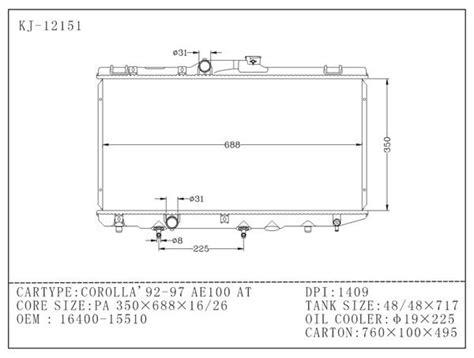 Tabung Radiator Innova Hilux Ori 16 400 15 510 toyota radiator ae 100 corolla 1992 1994