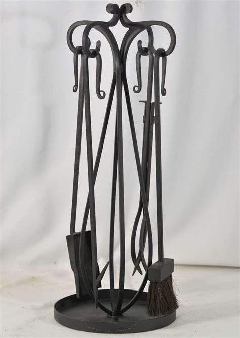 Forged Iron Fireplace Tools by Forged Wrought Iron Fireplace Tools At 1stdibs