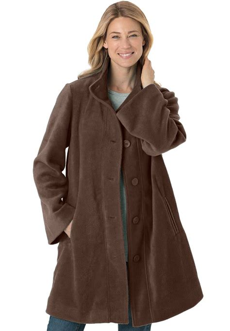 swing style within plus size jacket swing style in cozy fleece