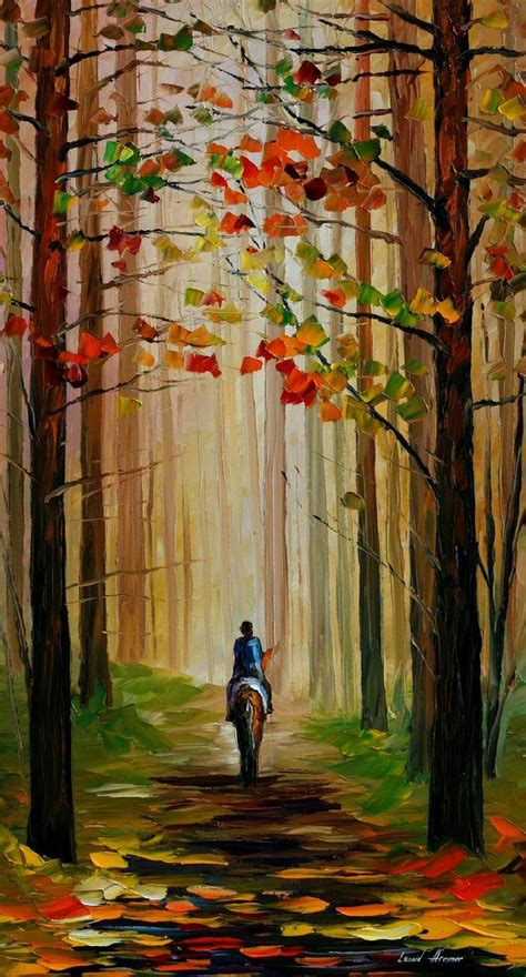 autumn stroll on a palette knife painting on canvas by leonid afremov size 36 quot x20 quot