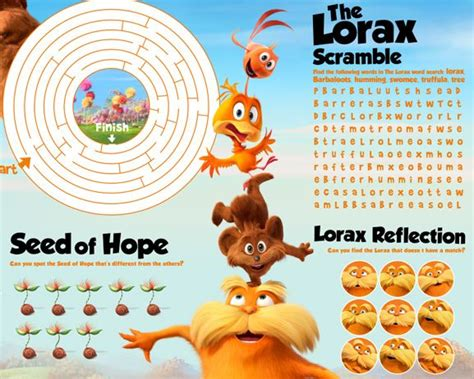 free printable lorax bookmarks the lorax activity sheet the lorax in theaters march