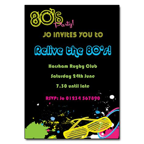 80s Party Invitation 80s Theme Party Invites 80 S Theme Invitation Templates Free