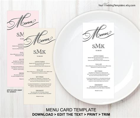 Printable Wedding Menu Templatemenu Card Template Instant Wedding Menu Size Template