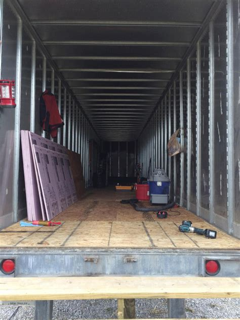 Shipping Container Cabin Floor Plans couple building semi trailer tiny house