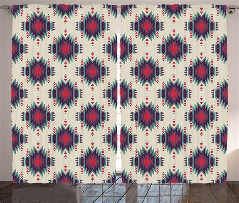 Tribal Print Curtains Indian Motif With Aztec Tribal Ornate First Nation Print