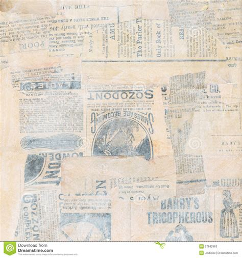 grungy antique newspaper paper collage stock