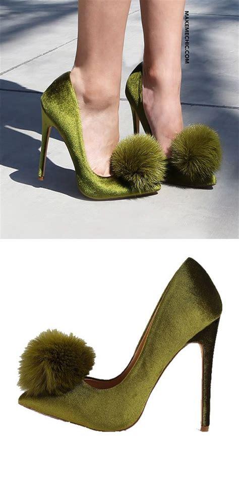 olive green high heels pointy toe stiletto pom pom heels olive makemechic