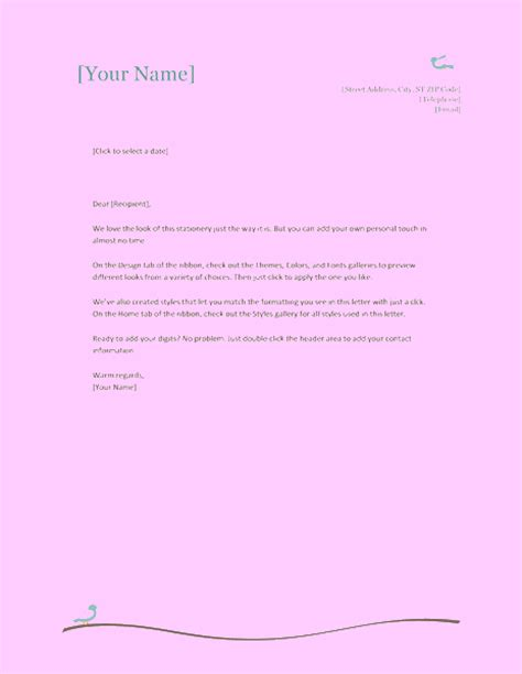 personal letter template word 2010 personal letterhead templates word 2010 cover letter