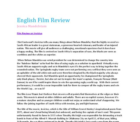 gladiator film review gcse invictus film review gcse english marked by teachers com
