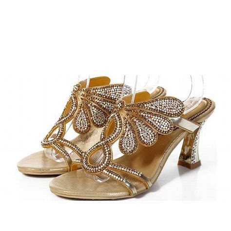gladiator slipper new 2016 fashion thick high heels sandals gold