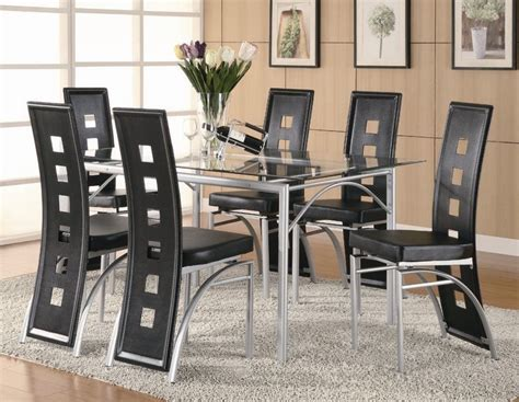 Metal Dining Room Set 7 Piece Kitchen Table Dinner Metal Dining Room Table Sets