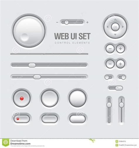 ui pattern buttons web ui elements design light gray stock vector image