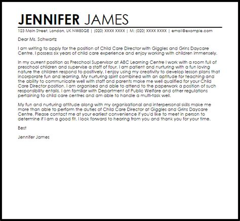 Child Care Director Cover Letter Sample   LiveCareer