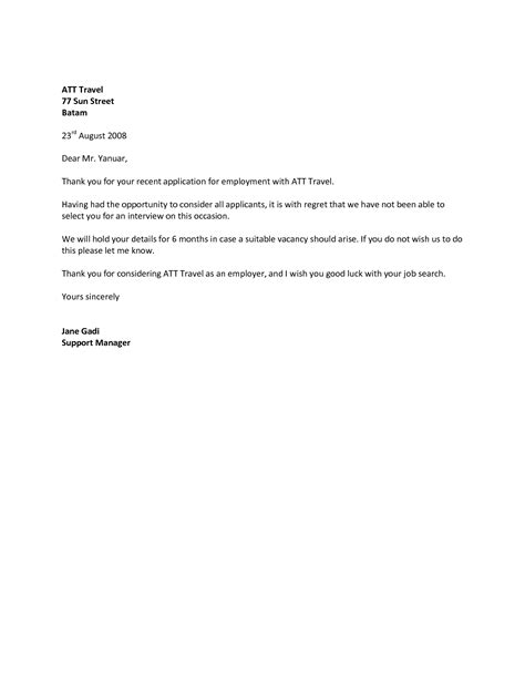 Decline Letter sle rejection letter to employer cover letter templates