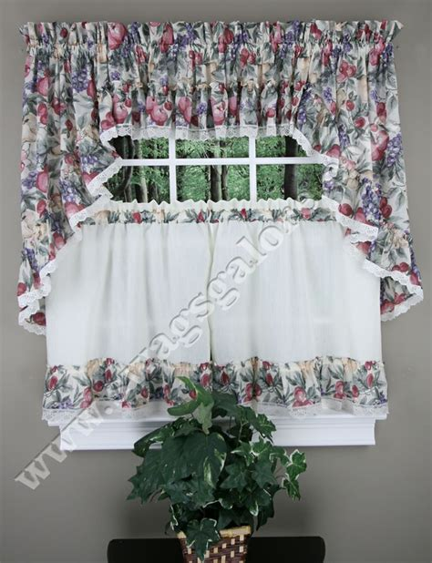 fruit kitchen curtains harvest fruit kitchen curtains a lovely multi color harvest fruit print swags valance