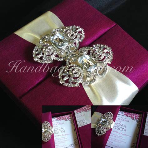 silk wedding invitations thailand magenta silk wedding invitation box with silver brooch handbag asia luxury
