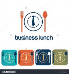 Business lunch and icon set flat design stock vector illustration
