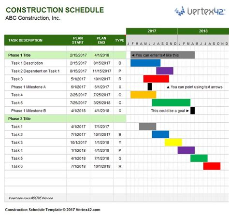 Download A Free Construction Schedule Template From Vertex42 Com Business Templates Scheduling Templates