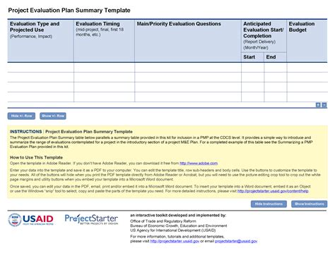 project evaluation plan summary template project starter