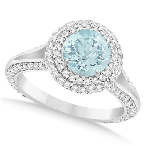 halo aquamarine engagement ring 14k white gold 2
