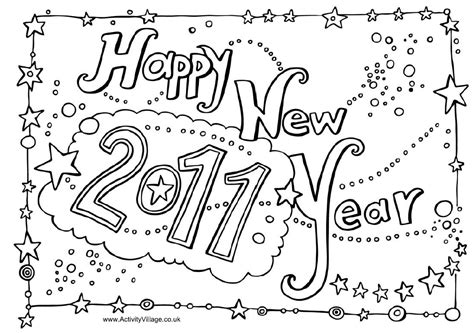 Happy New Year 2011 Coloring Pages Pictures New Years Colouring Pages
