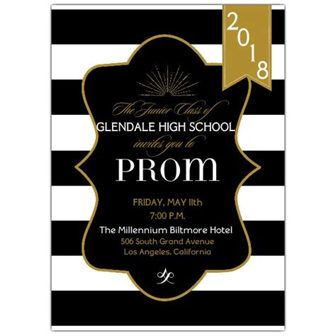 Cocktail Party Invitation Ideas - black and gold prom invitations paperstyle