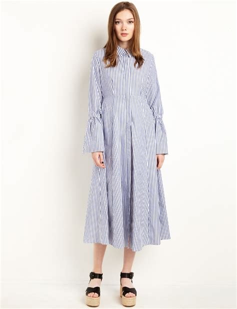 dress stripe midi bell sleeve shirt dress midi dress