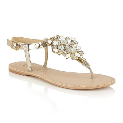 golden sandals buy ravel redvale jewelled flat sandals in